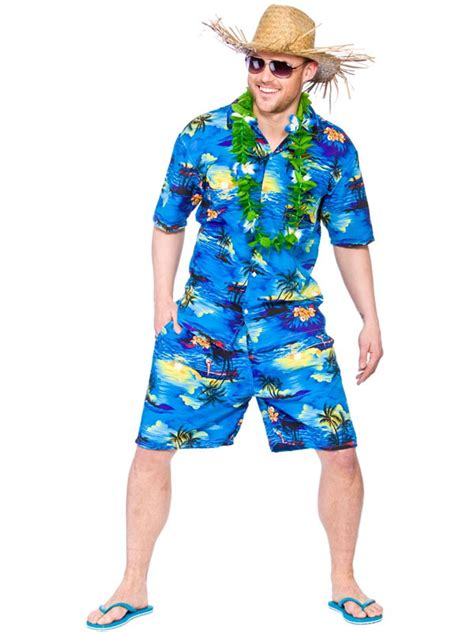beach themed clothing party mens hawaiian beach party blue palm fancy dress costume