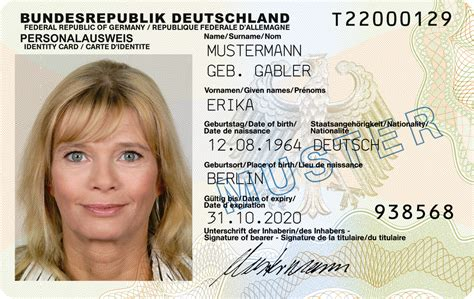 german id card template german identity card