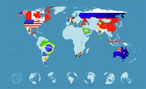 world map with countries flag country flags on detailed world map by pomogayev
