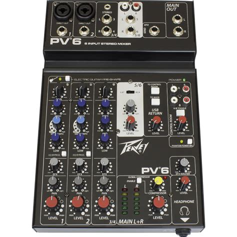 Mixer Audio Profesional peavey pv6 new pro audio dj live sound 6 channel slim