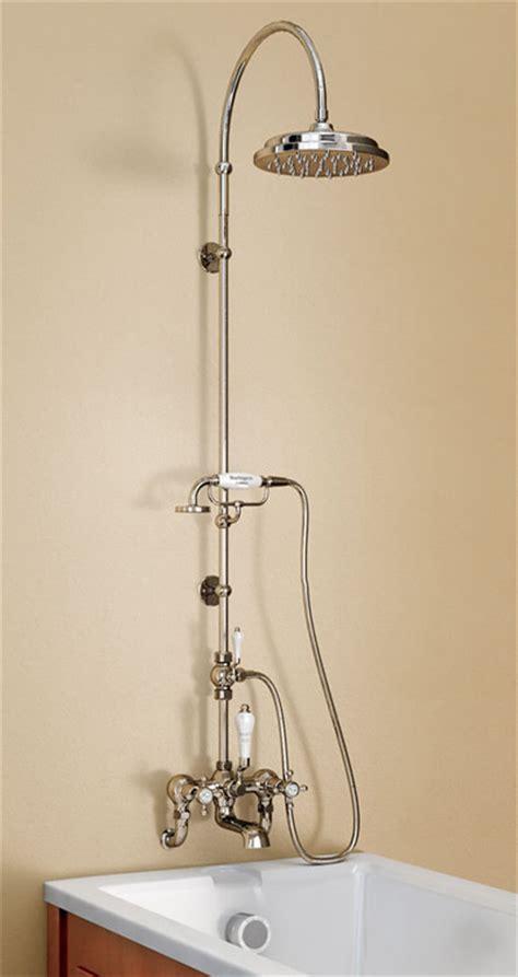 bath and shower mixer burlington claremont wall mounted bath shower mixer w riser curved arm 9 quot diverter
