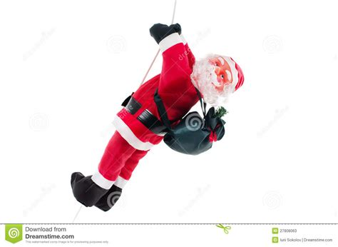 santa claus doll climbing on rope stock image image of