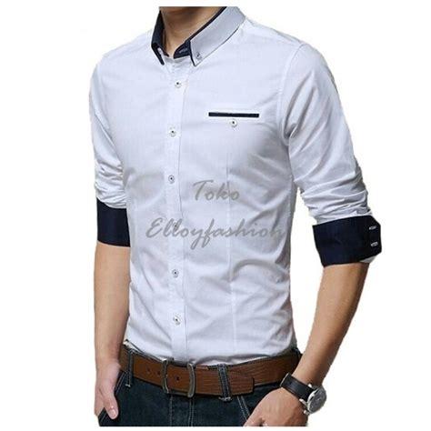 Kemejalengan Panjang Flanel Hitam Putih 8232 jual beli kemeja pria kerja kantor formal lengan panjang