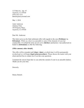 printable settlement final offer letter legal pleading