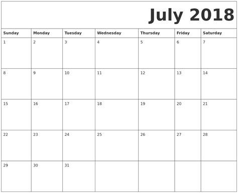 printable july 2018 calendar july 2018 free printable calendar