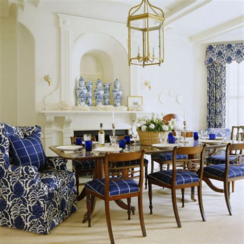 Blue Dining Room Centerpieces Beautiful Rooms In Blue And White Traditional Home