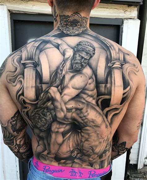 hercules fighting the centaur nessus mens back tattoo