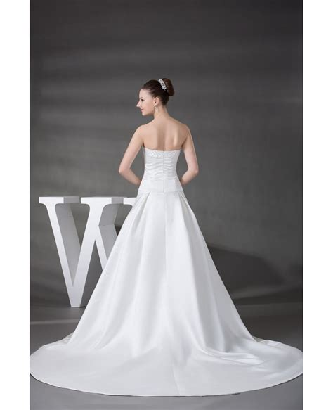 strapless beaded wedding dress with train oph1218