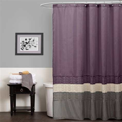 Gray And Purple Curtains Ideas Lush Decor Purple Gray Shower Curtain