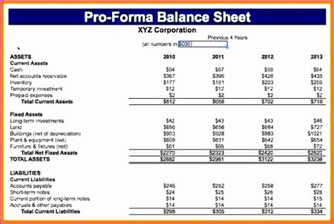 pro forma balance sheet template excel exceltemplates