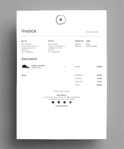 shopify invoice template simplified invoice template for shopify s order printer