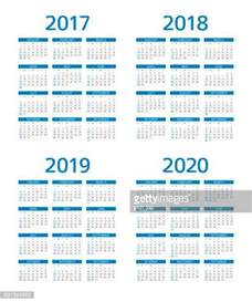 Calendar 2018 And 2019 And 2020 2018 Stock Illustrations And Getty Images