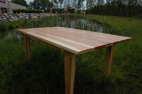 made scraped hickory dining table by corey