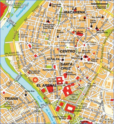 map of and attractions seville map tourist attractions toursmaps