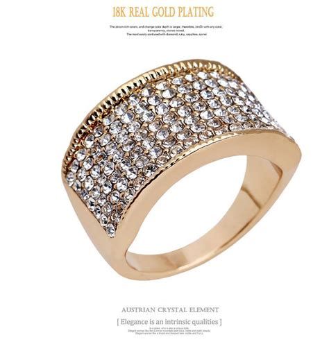 18k Gold Rhinestone Ring 5pcs lot 18k fashion rhinestone rings ring jewelry ring