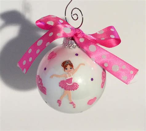 monogrammed ballerina christmas ornament by kathy the