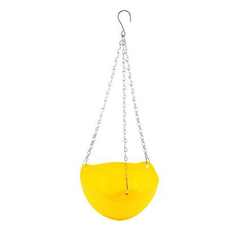 yellow plastic hanging flower pot chain plant planter