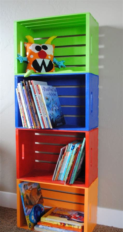 diy bookshelf made from crates wooden crates crates and