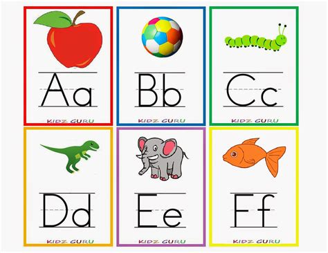 printable alphabet cards with pictures kindergarten worksheets printable worksheets alphabet