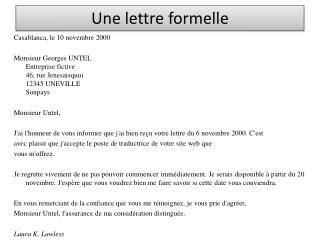 Presentation De La Lettre Francais Ppt Une Lettre Formelle Powerpoint Presentation Id 3148090