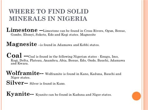 Find In Nigeria Nigeria Solid Minerals Exploration Mining Exportation
