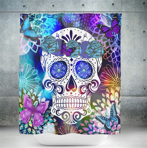 sugar skull curtains sugar skull shower curtain butterfly burst