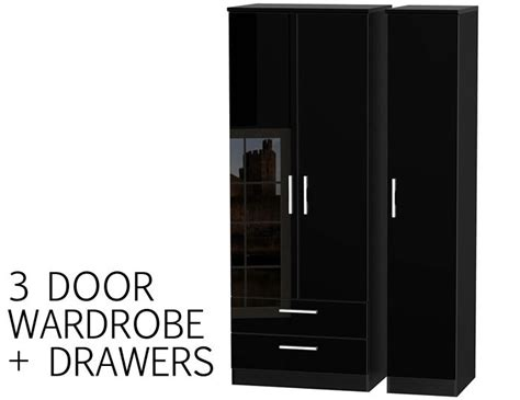 Black Gloss 3 Door Wardrobe by 3 Door Black High Gloss Wardrobe