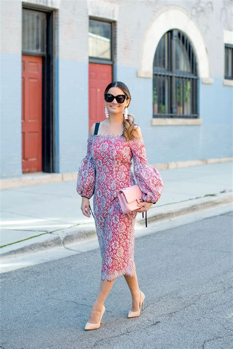 Lace Sheath Midi Dress pink lace balloon sleeve midi dress and pink chanel bag