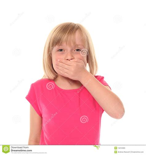tiny small young little girl covering mouth stock photos image