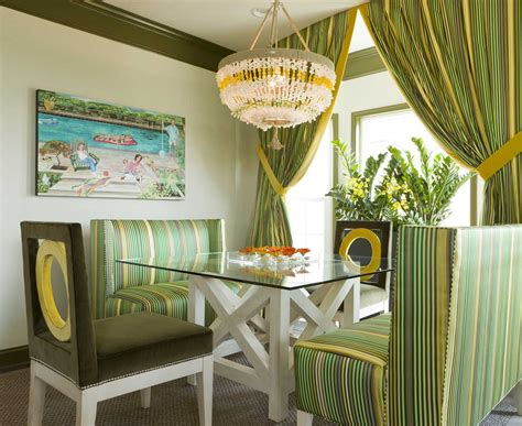 Dining Curtain Designs Inspiration Stripes Curtain And Sofas In Dining Room Inspiration Decobizz