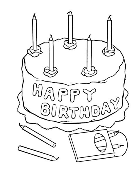 birthday cake coloring page free printable