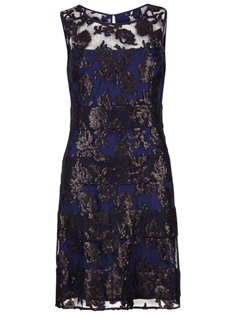 boat neck sequin dress gina bacconi fancy sequin lace fit and flare dress uk