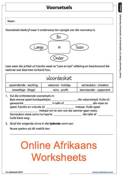 grade 7 afrikaans voorsetsels worksheets for more