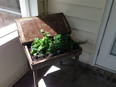 desk garden old school desk turned herb garden planter outdoors