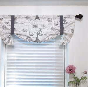 tie up valance french st eiffel tower charcoal white