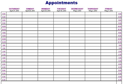 appointment sheet template word calendar templates free layout format