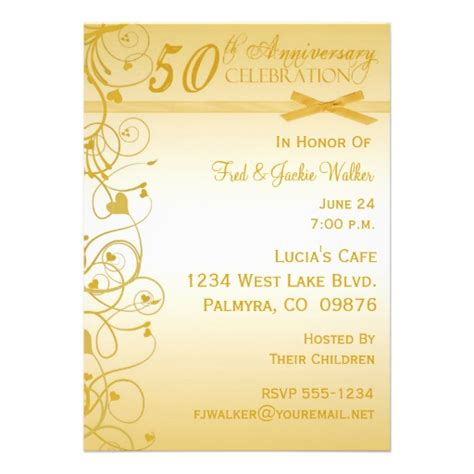 Anniversary Invitations by 50th Anniversary Invitations 5 Quot X 7 Quot Invitation Card