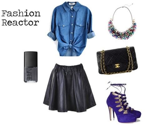 how to wear a leather skater skirt with a denim shirt