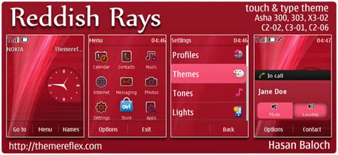 free themes for nokia c2 02 touch and type reddish rays theme for nokia asha 303 300 c2 02 x3 02