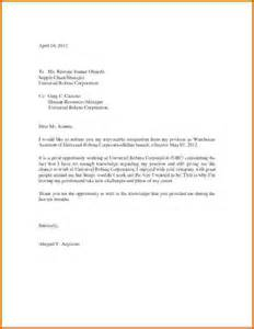 Formal Letter Of Resignation Exle by 6 Formal Letter Of Resignation Financial Statement Form