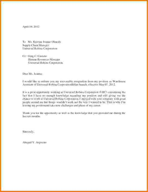 Official Letter Of Resignation Email 6 Formal Letter Of Resignation Financial Statement Form