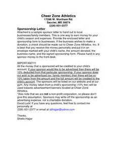 Sponsorship Letter Cheerleading Corporate Sponsorship Letter Template