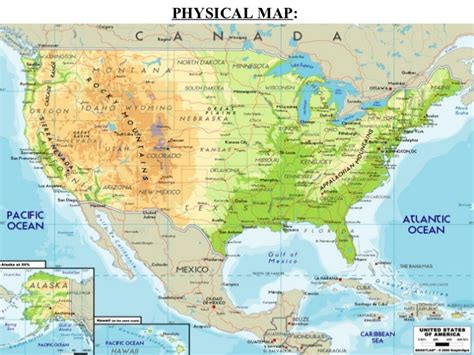 us map with states and geographical features american geography ppt 2012
