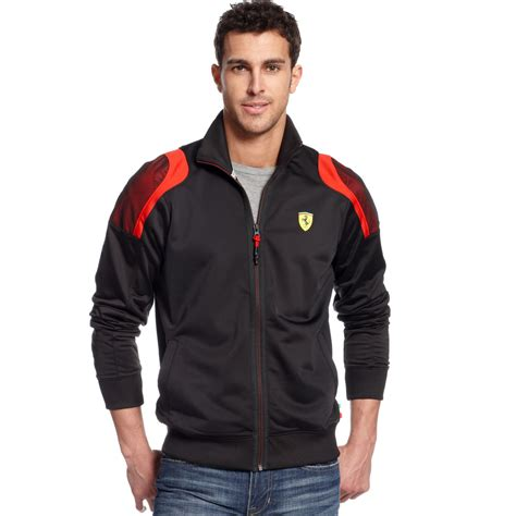 ferrari jacket puma scuderia ferrari track jacket in black for men lyst