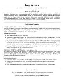 Marketing Resume Objective Exles by Exle Marketing Director Resume Free Sle