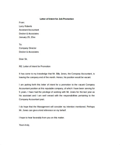 Promotion Intent Letter letter of intent for employment template askmefast