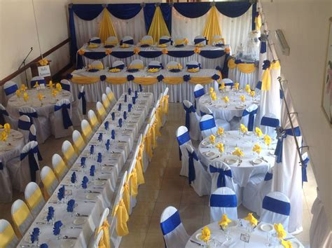 Royal blue and yellow wedding decor.   Wedding decor