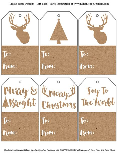 printable deer gift tags free christmas holiday gift tags kraft paper gift tags