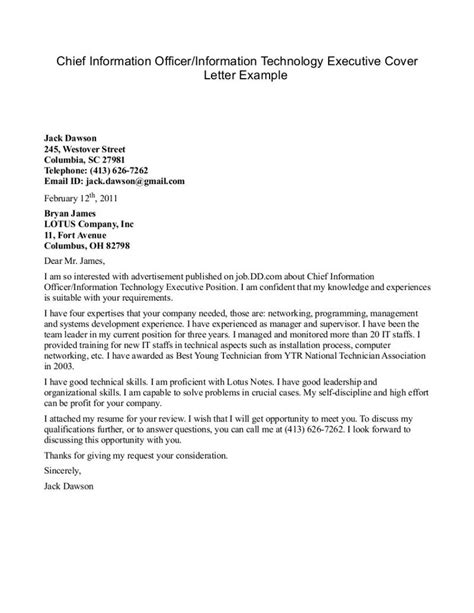 Technology Officer Cover Letter by Information Technology Cover Letter Exles The Letter Sle