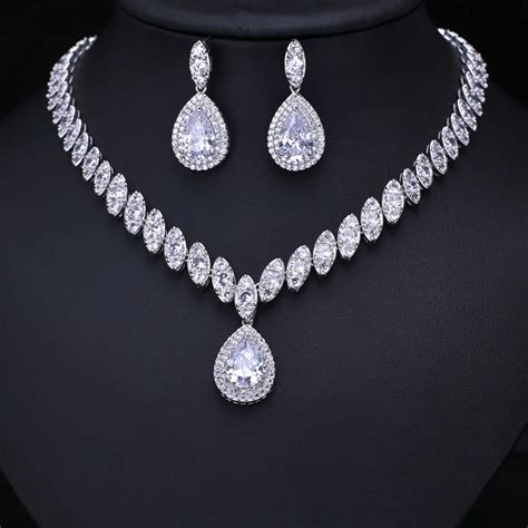 clear cubic zircon wedding jewelry sets bridal